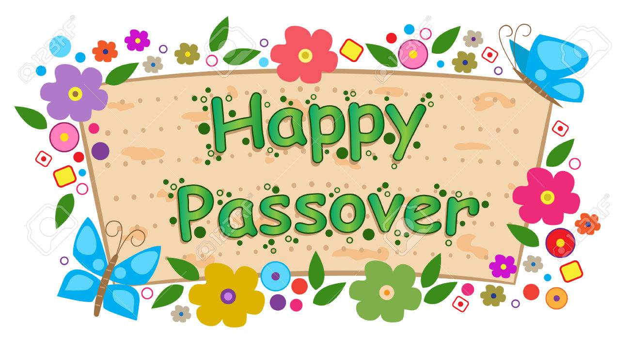 Happy Passover Banner with Flowers