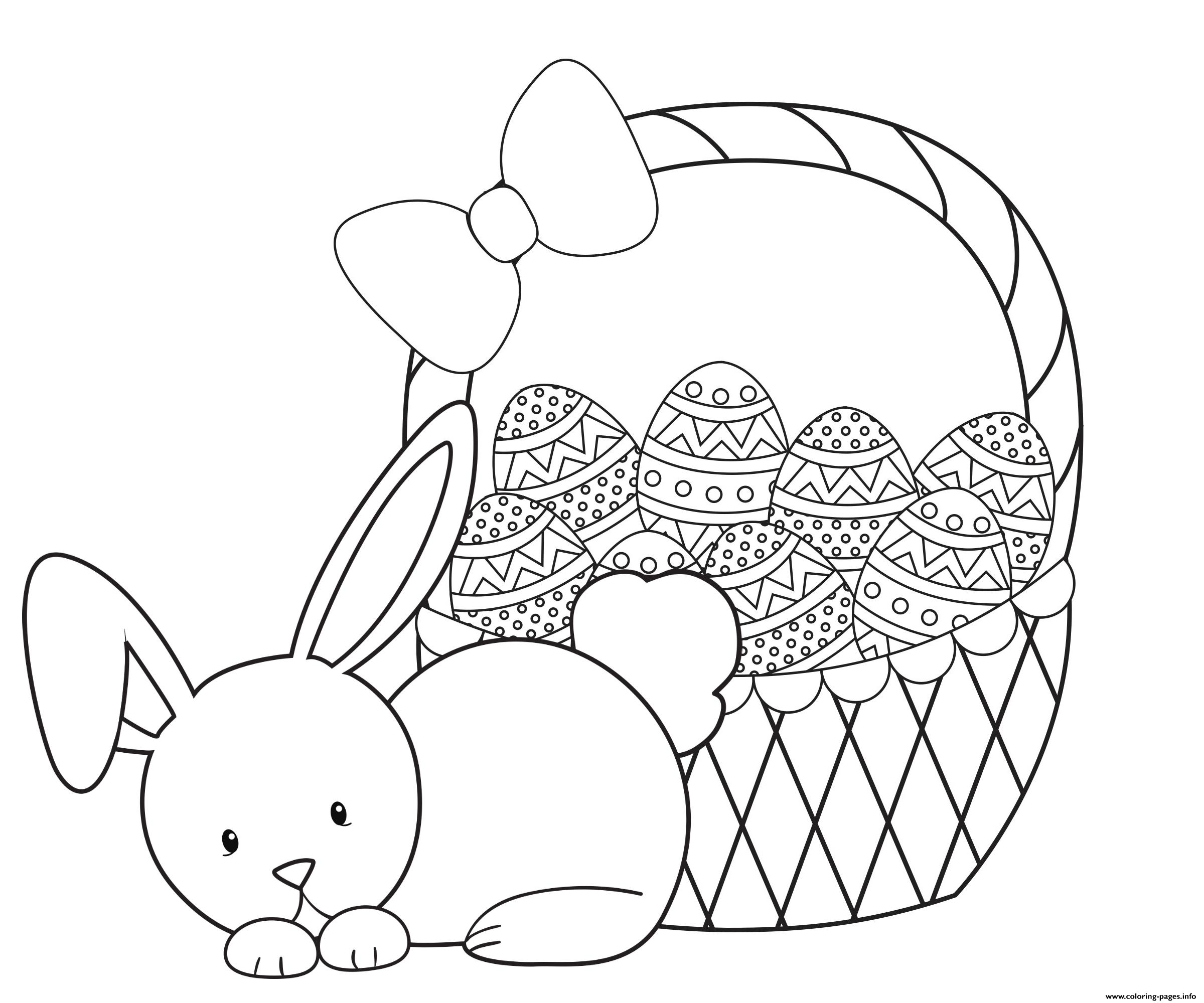 Cute Rabbit Easter Eggs Basket Coloring Pages Printable